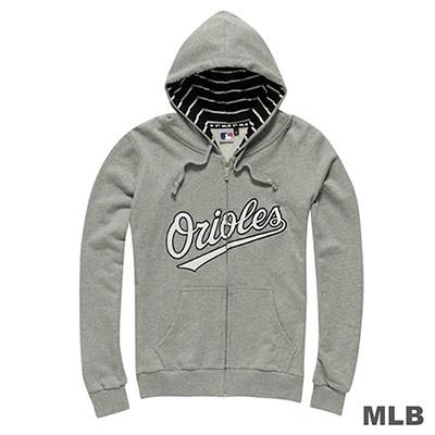 MLB-巴爾的摩金鷹隊休閒連帽繡花外套-麻灰 (女)