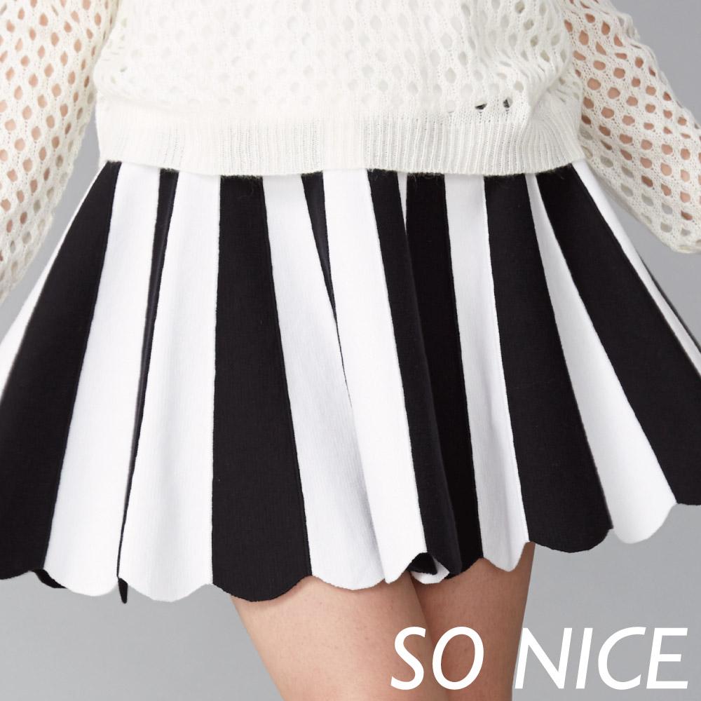 SO NICE撞色條文傘狀膝上針織裙