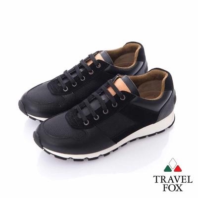 Travel Fox (男)輕勁走 牛皮雙料都會慢跑運動鞋-黑