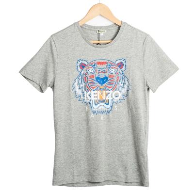 KENZO 男大童版彩色印刷虎頭短T 灰色/14A