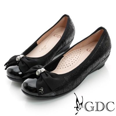 GDC典雅-蝴蝶結亮片楔型真皮低跟鞋-黑色