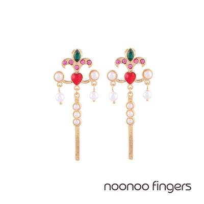 Noonoo Fingers Roze 紅愛心水鑽珍珠條垂墜耳環
