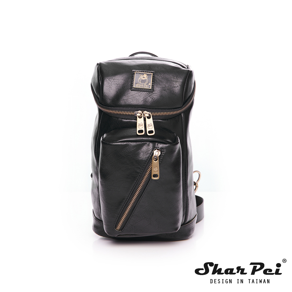 SharPei沙皮狗-城市漫遊x時尚騎士單肩側背包-典雅黑