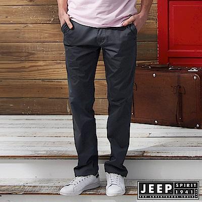 JEEP 完美修身素面休閒長褲-鐵灰色