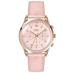 Henry London 優雅時尚真皮計時手錶-粉紅/39mm