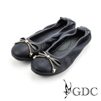 GDC-真皮素面蝴蝶結水鑽平底娃娃鞋-藍色