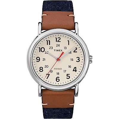【TIMEX 】天美時經典復刻冷光Weekender系列腕錶-米白x藍/38mm