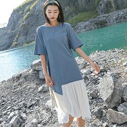 圓領不規則撞色拼接寬鬆洋裝 (藍色)-Kugi Girl