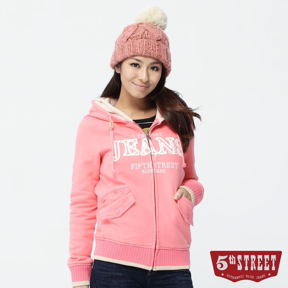 5th STREET 新穎面貌 JEANS雙層連帽長袖拉鍊外套-女款(玫紅)