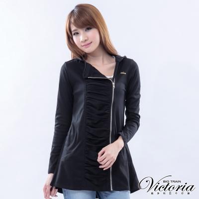 Victoria  波浪垂墜門衿連帽外套-女-黑色