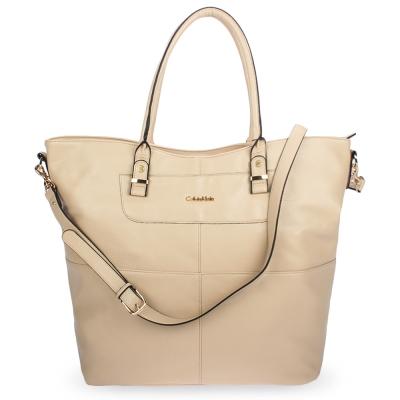 Calvin Klein 荔枝紋皮革肩背/側背二用大旅行包-杏色