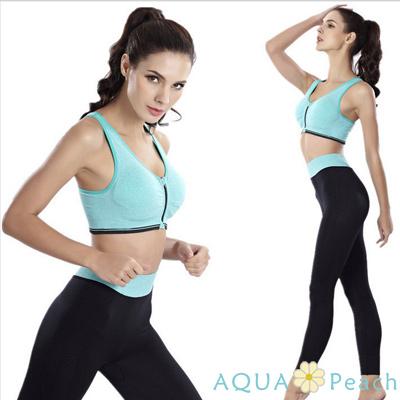 運動褲 混色寬版褲頭貼身運動褲 (綠色)-AQUA Peach