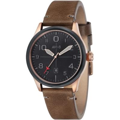 AVI-8 飛行錶 FLYBOY 飛行男孩時尚手錶-黑x咖啡/43mm