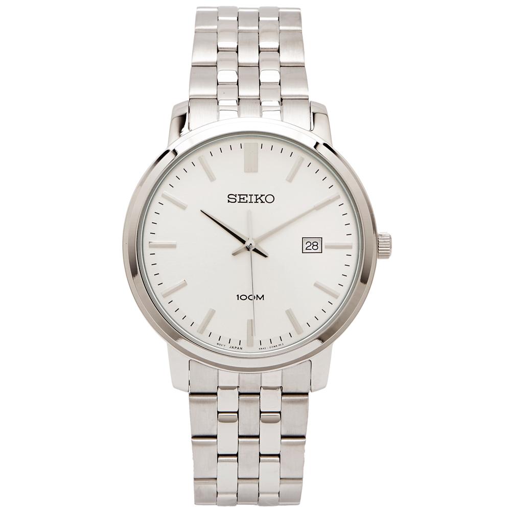 SEIKO 復古紳士風男性手錶(SUR105P1)-銀面X銀色/42mm