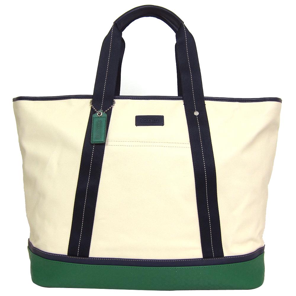 COACH帆布拼接皮革梯形托特購物包(米綠)