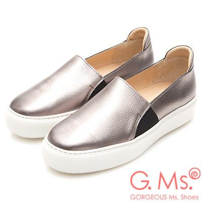 G.Ms. MIT系列-百搭Q彈牛皮素面顯瘦厚底懶人鞋-銀色