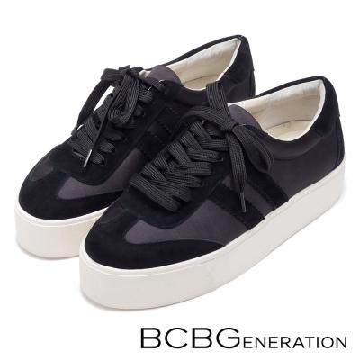 BCBGeneration-休閒時尚-經典橫紋異材質厚底懶人鞋-黑色