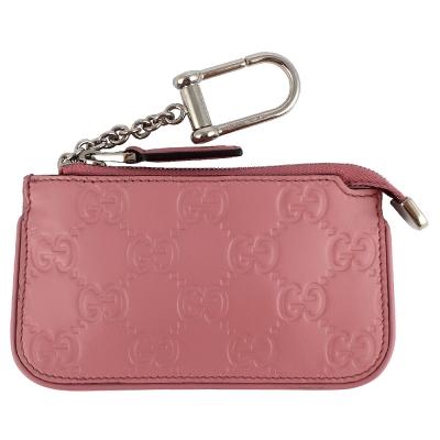 GUCCI Guccissima 粉紅色厚質真皮壓紋鑰匙零錢包