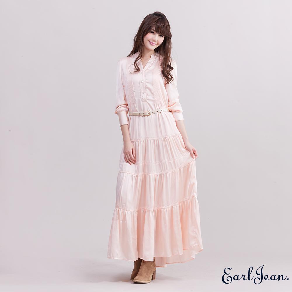 Earl Jean半開襟衫長洋裝-女-杏色