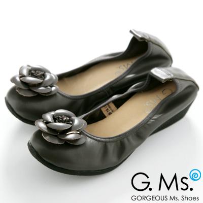【G.Ms.】經典山茶花‧柔軟彎折厚底坡跟牛皮娃娃鞋‧暖暖深灰