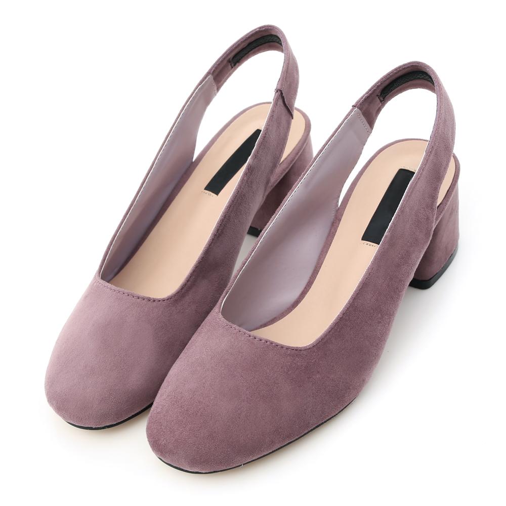 D AF 復古美學.素面絨料方頭後空中跟鞋*紫