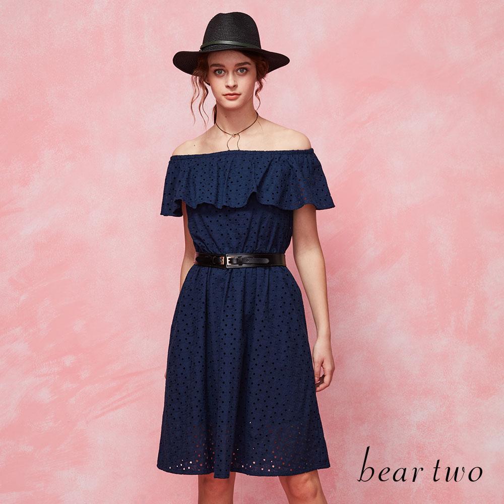 beartwo 浪漫一字領荷葉邊洋裝(深藍)