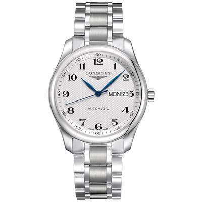 LONGINES浪琴巨擘系列麥粒飾紋紳士腕錶-銀色/38.5mm