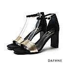 達芙妮DAPHNE 涼鞋-金屬撞色多重環紋一字高跟涼鞋-金