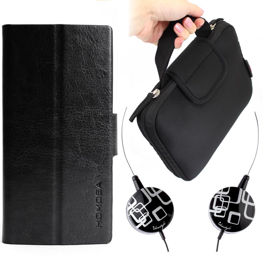 iStyle iPhone5/5S/SE 日記皮套黑+幾何耳機+7吋平板包
