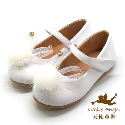 天使童鞋 D716 萌萌雪妍兔娃娃鞋(中-大童)白