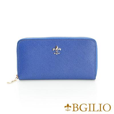 義大利BGilio-十字紋牛皮拉鍊長夾-藍色171