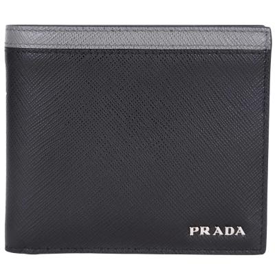 PRADA-Saffiano-防刮-對折-短夾-黑