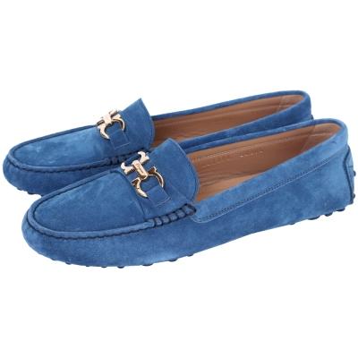 Salvatore Ferragamo  SABA 馬蹄環麂皮休閒鞋(藍色)