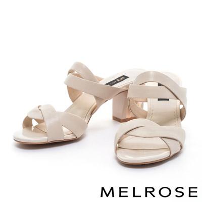 拖鞋-MELROSE-環繞交叉繫帶造型羊皮高跟拖鞋-米