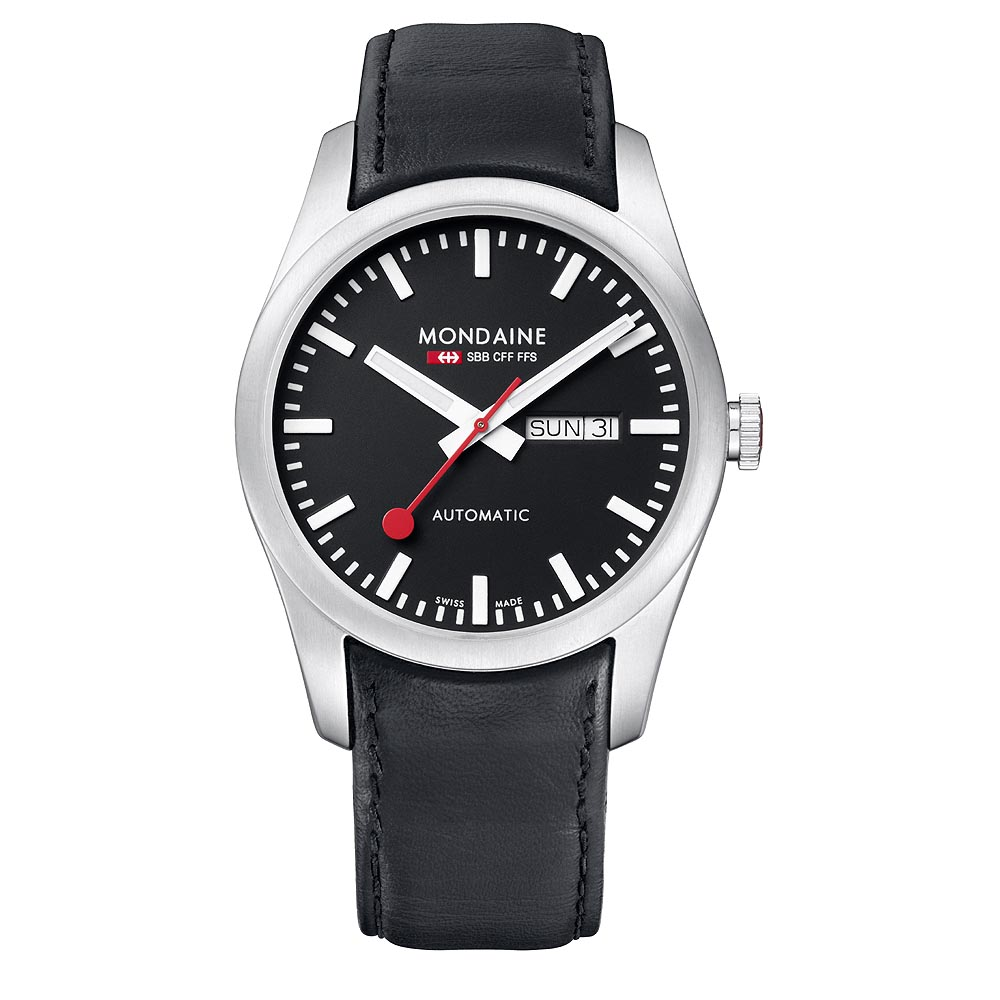 MONDAINE 瑞士國鐵藍寶石水晶雙視窗機械錶-黑/42mm