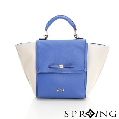 SPRING-翻蓋蝴蝶結手提包-藍