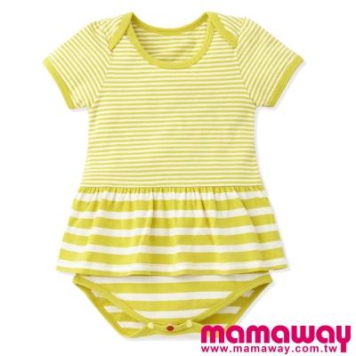 Mamaway-Baby粗細條剪接裙擺包屁衣-共三