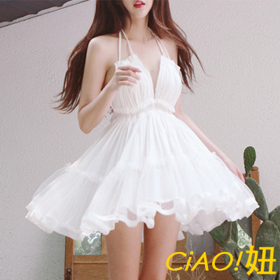 渡假風細肩帶比基尼罩衫洋裝 (白色)-CIAO妞