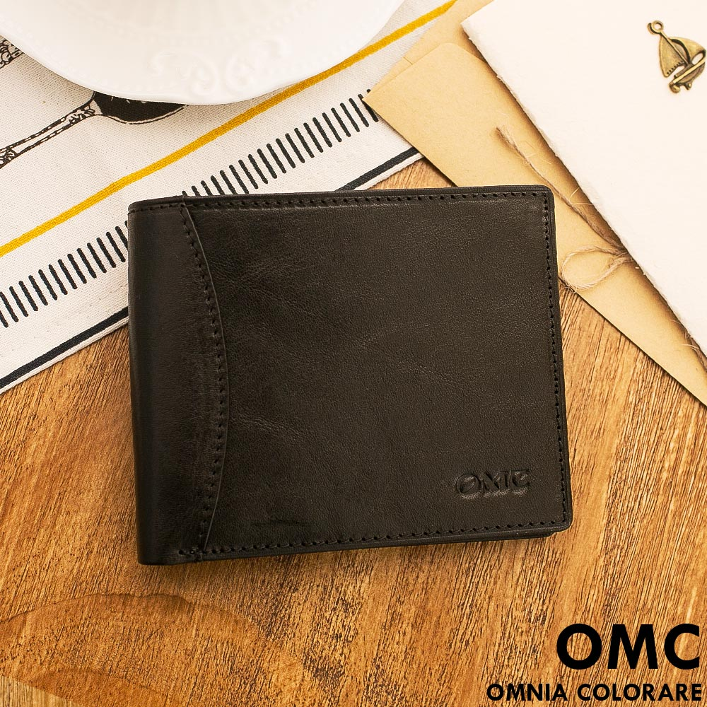 OMC - 韓系原皮魅力真皮款5卡2照短夾-黑