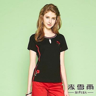【麥雪爾】純棉對稱玫瑰刺繡圖騰上衣
