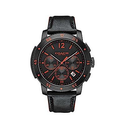 COACH 經典計時紳仕男皮帶腕錶/黑/14602024
