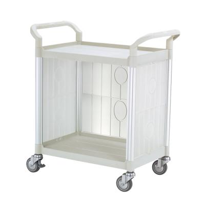 100%台灣製 標準多功能二層三面圍邊工具餐車/手推車/置物架-優雅白