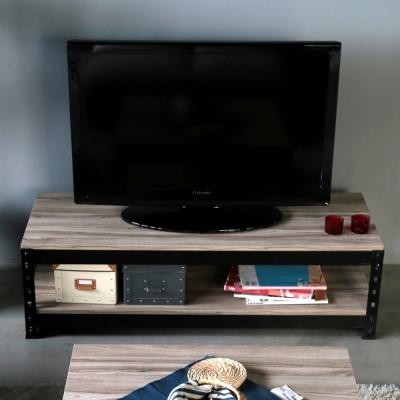 H&D 角鋼美學-工業風免鎖角鋼黑色電視櫃-4色