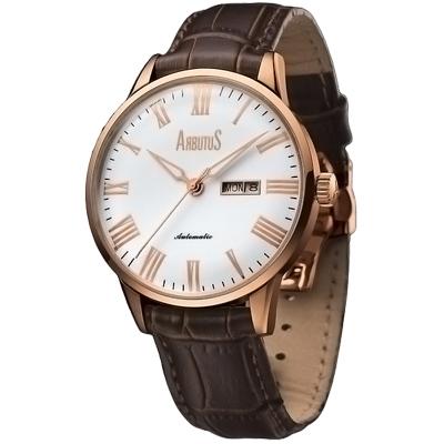 ARBUTUS愛彼特羅馬時標時尚機械錶-白-42m