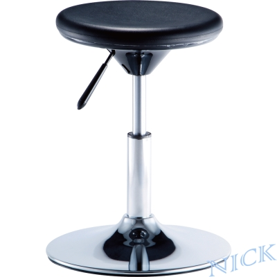 【NICK】圓型PU軟性坐墊電鍍腳吧檯椅_圓盤腳座