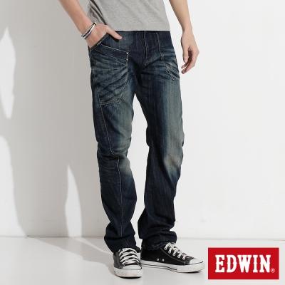 EDWIN 加大碼E-FUNCTION窄直筒牛仔褲-男-中古藍