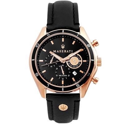 MASERATI 瑪莎拉蒂SORPASSO極速三眼計時手錶-黑X玫瑰金/45mm