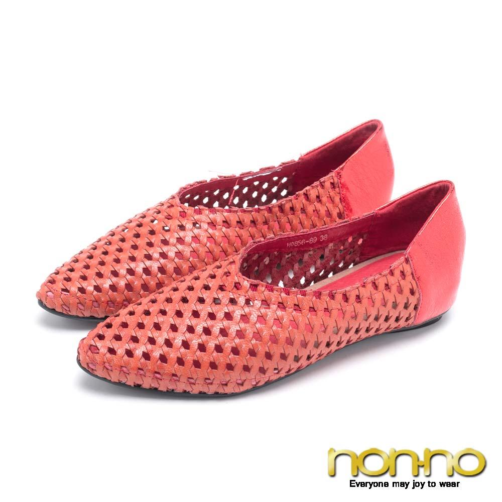 nonno金屬感編織尖頭娃娃鞋-紅