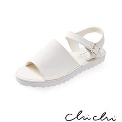 Chichi 寬帶側扣環厚底涼鞋*白色