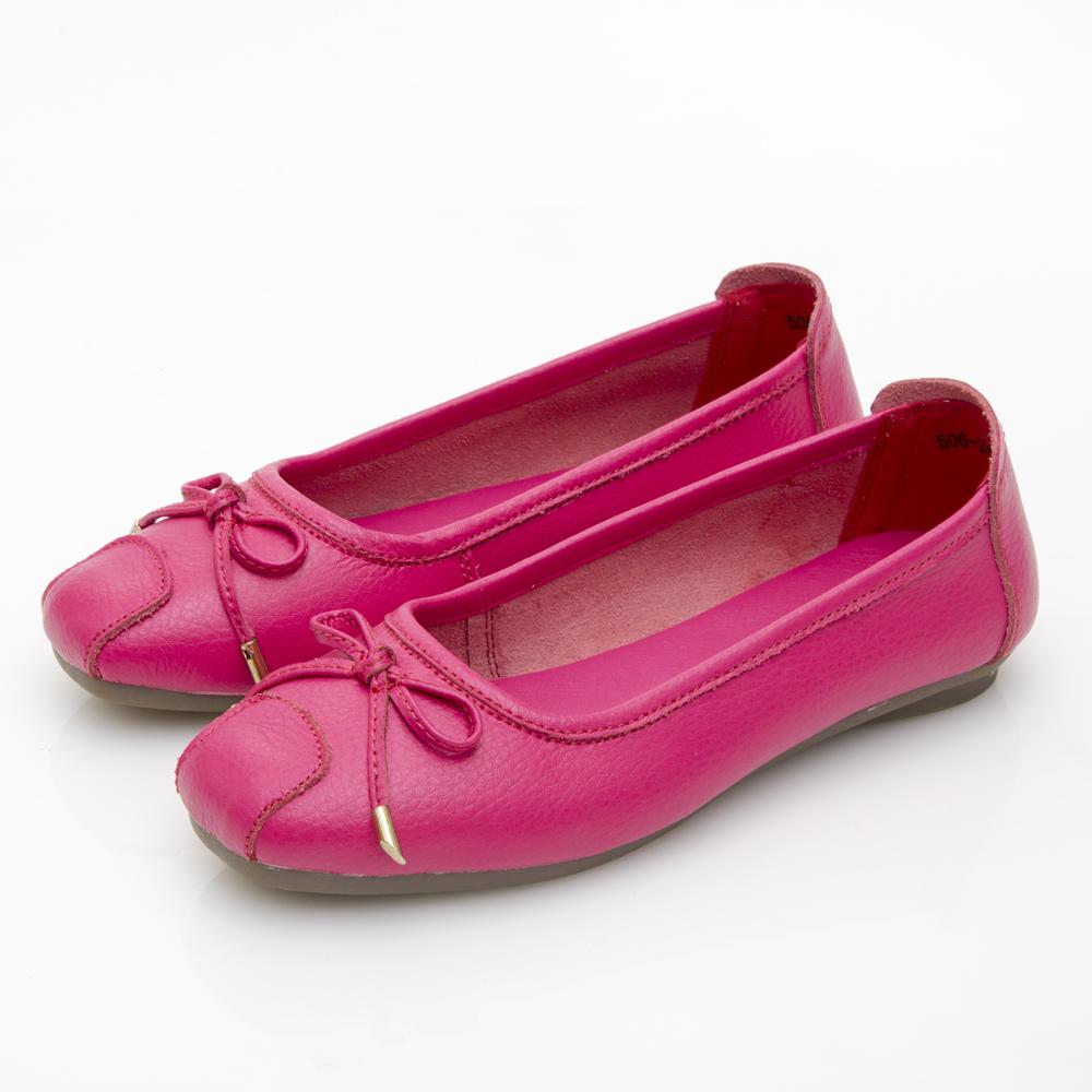 JMS-鄰家女孩氣質款柔軟牛皮娃娃鞋-桃紅色
